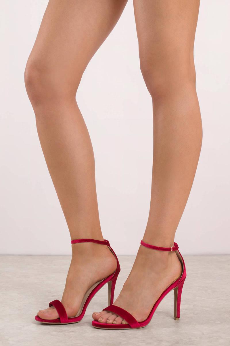 be6662573f03 Cute Red Heels - Velvet Stiletto Heels - Red Holiday Heels - € 25 ...