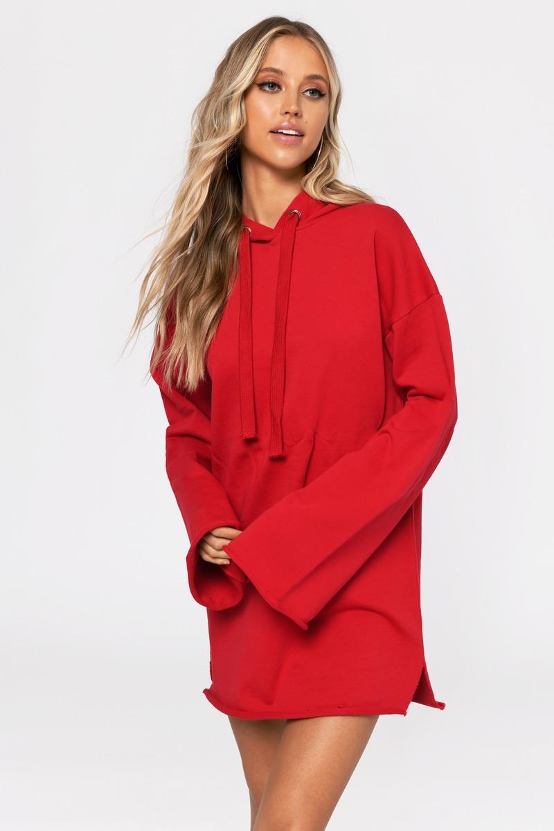 Trendy Red Hoodie - Flared Sleeve - Oversized Hoodie - $31 ...