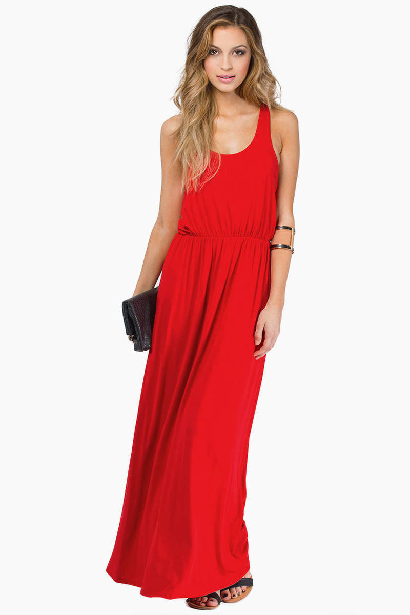 Driving Red  Maxi Dress