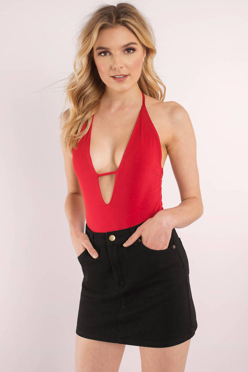 Sexy Bodysuit Plunging Neckline Backless Red