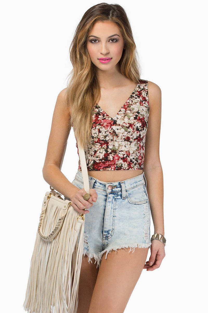 Royal Floral Crop Top