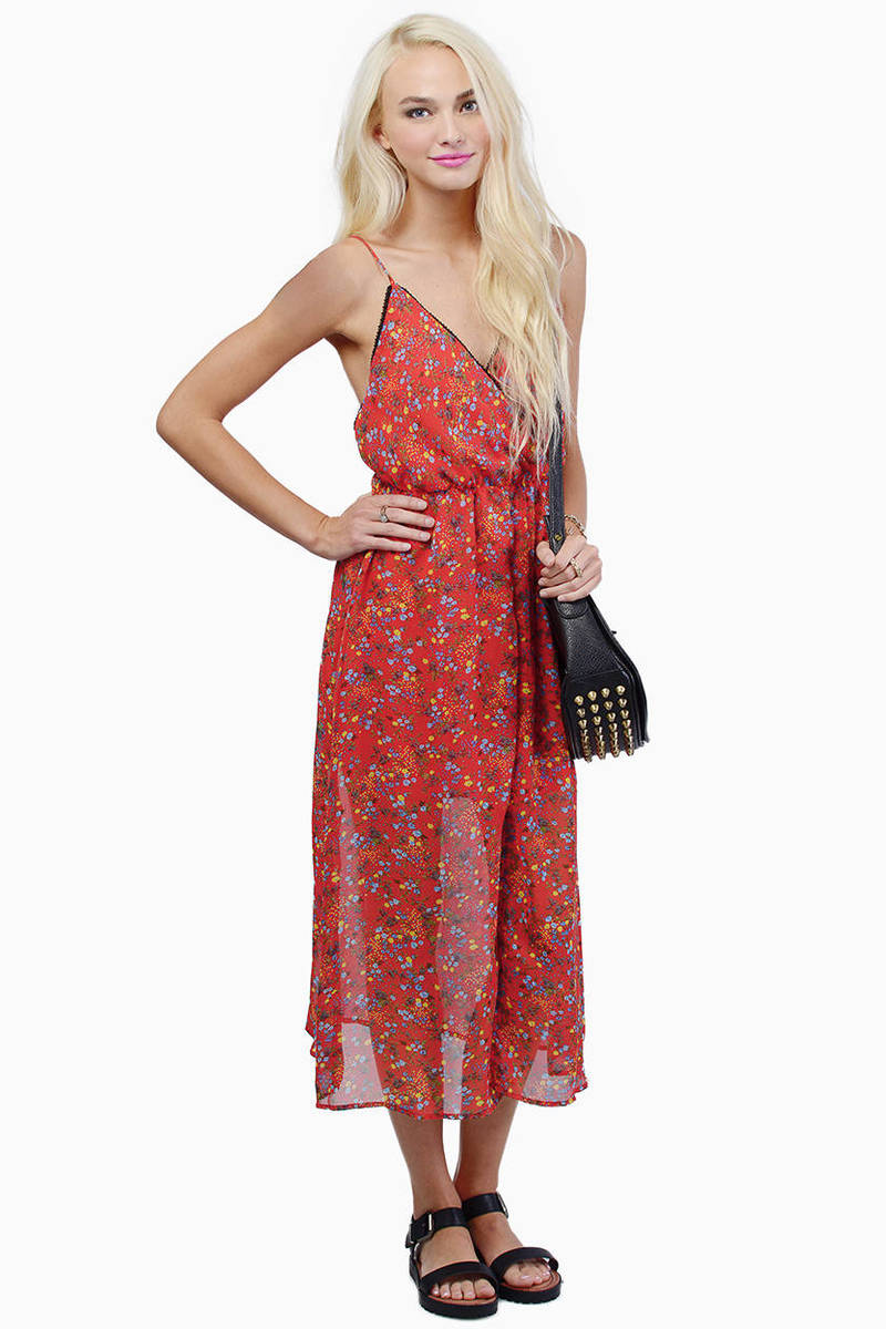 Summer Fling Red Floral Print Maxi Dress