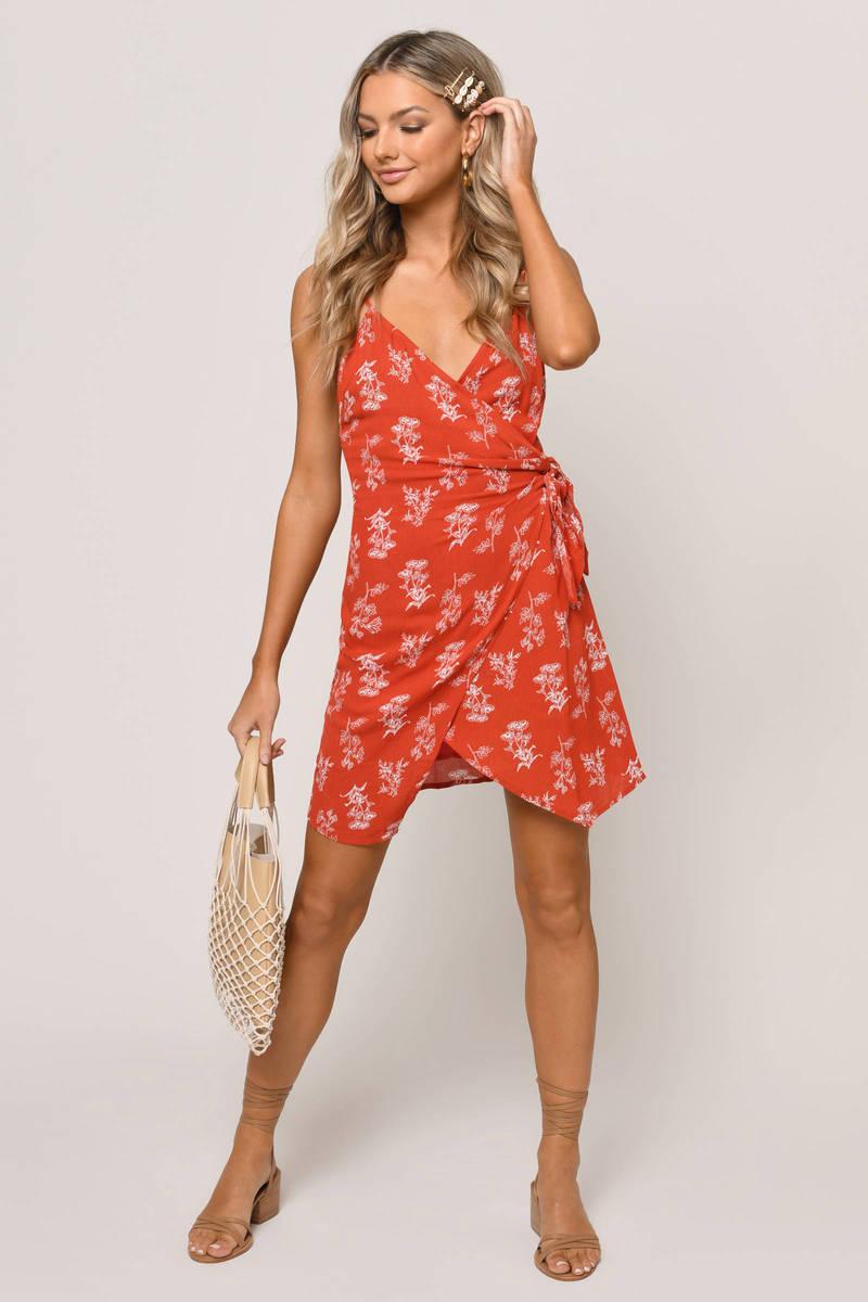 d5c2d5e3a5414 Florida Floral Print Surplice Wrap Dress