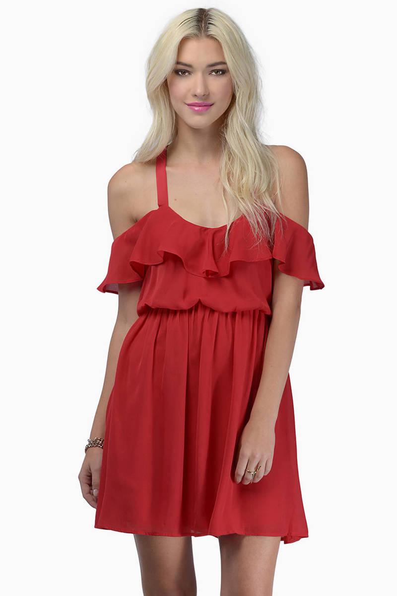 Fluttering Around Red Skater Dress