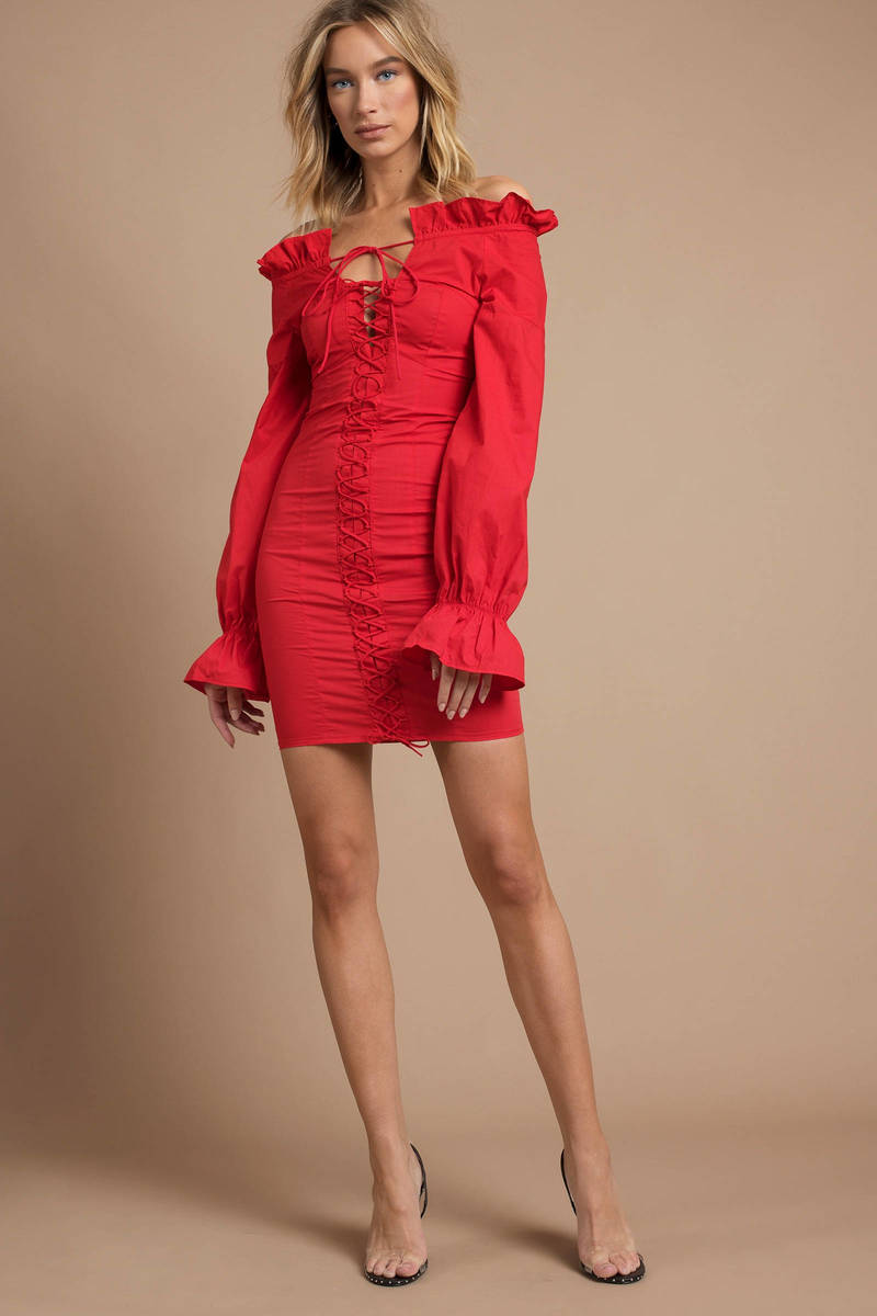 Lioness Foxy Red Off Shoulder Bodycon Dress - $108 | Tobi US