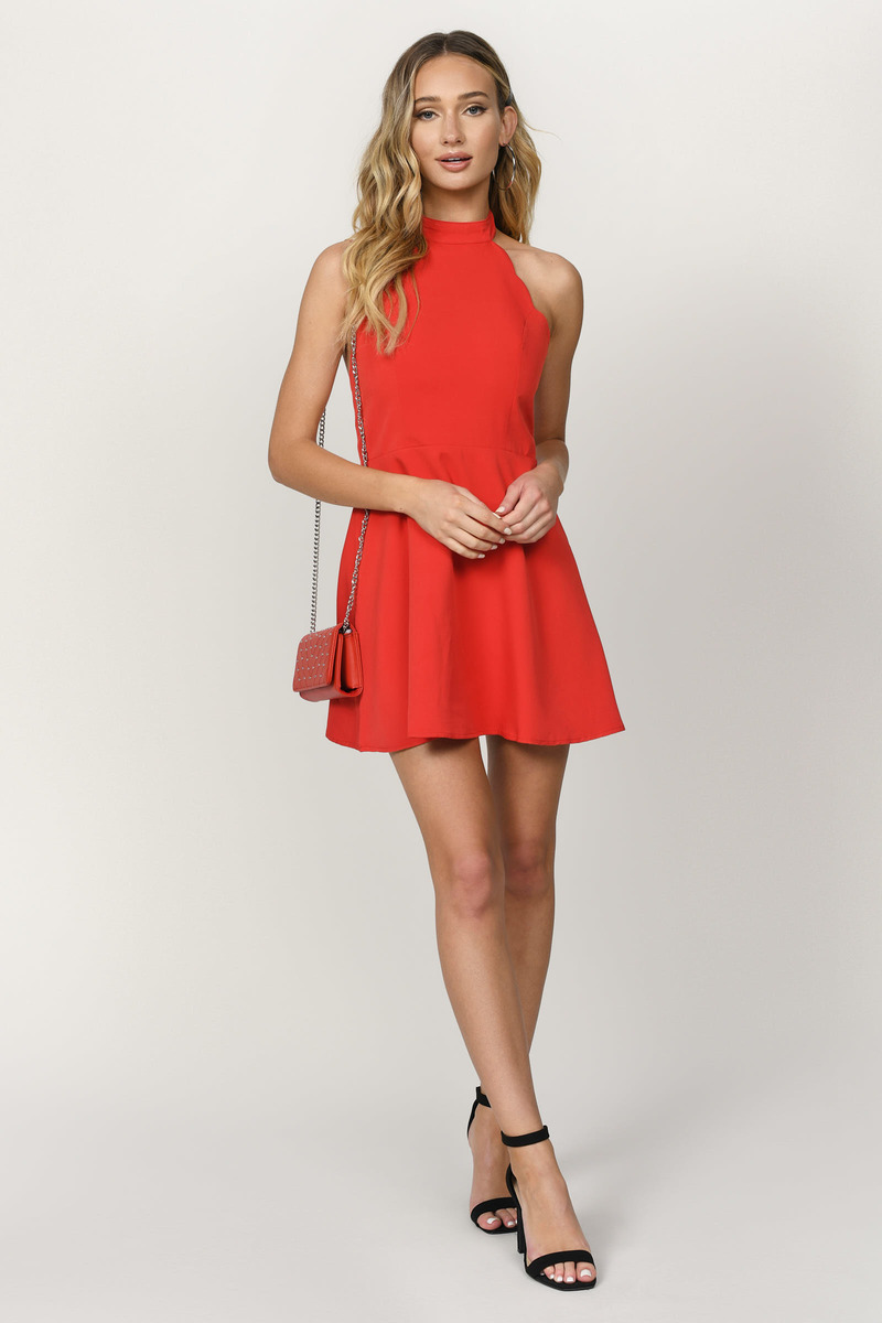 Sexy Red Dress - Backless Dress - Red Flare Dress - Skater Dress - $66