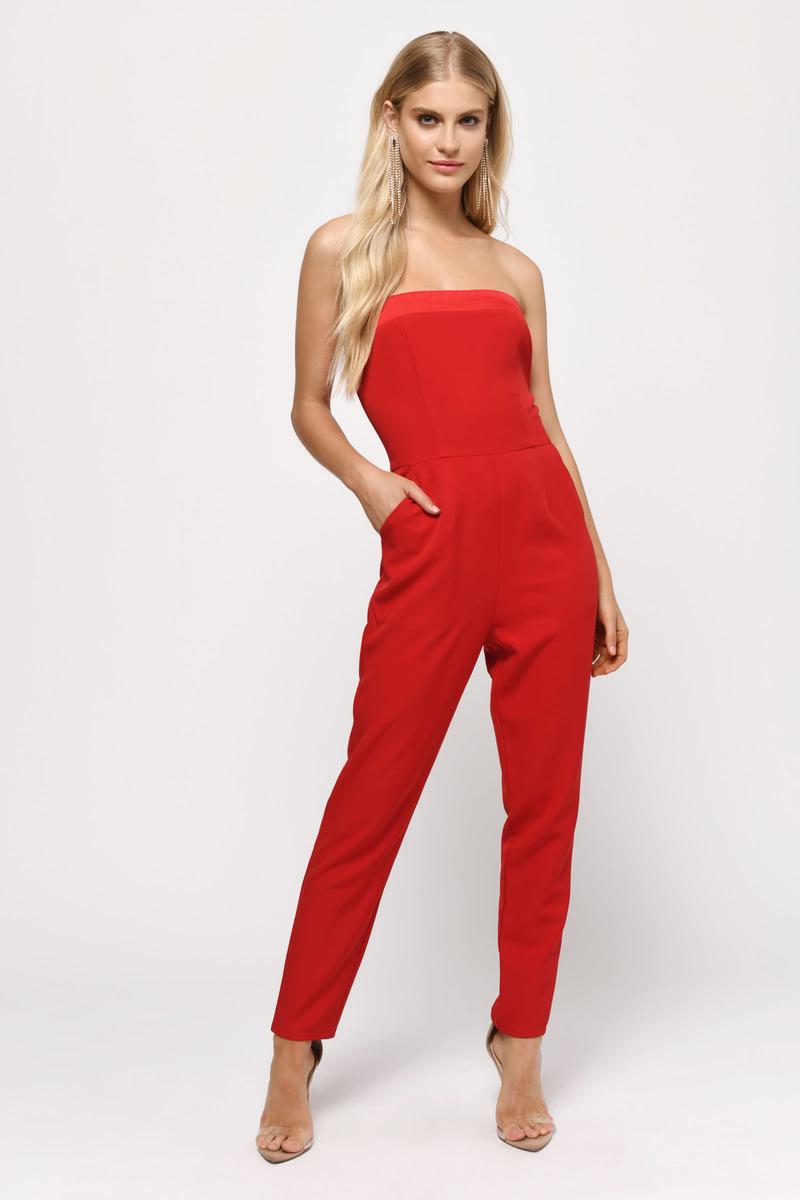 95e0f6785d6 Red Jumpsuit - Strapless Jumpsuit - Red Tight Jumpsuit -  32