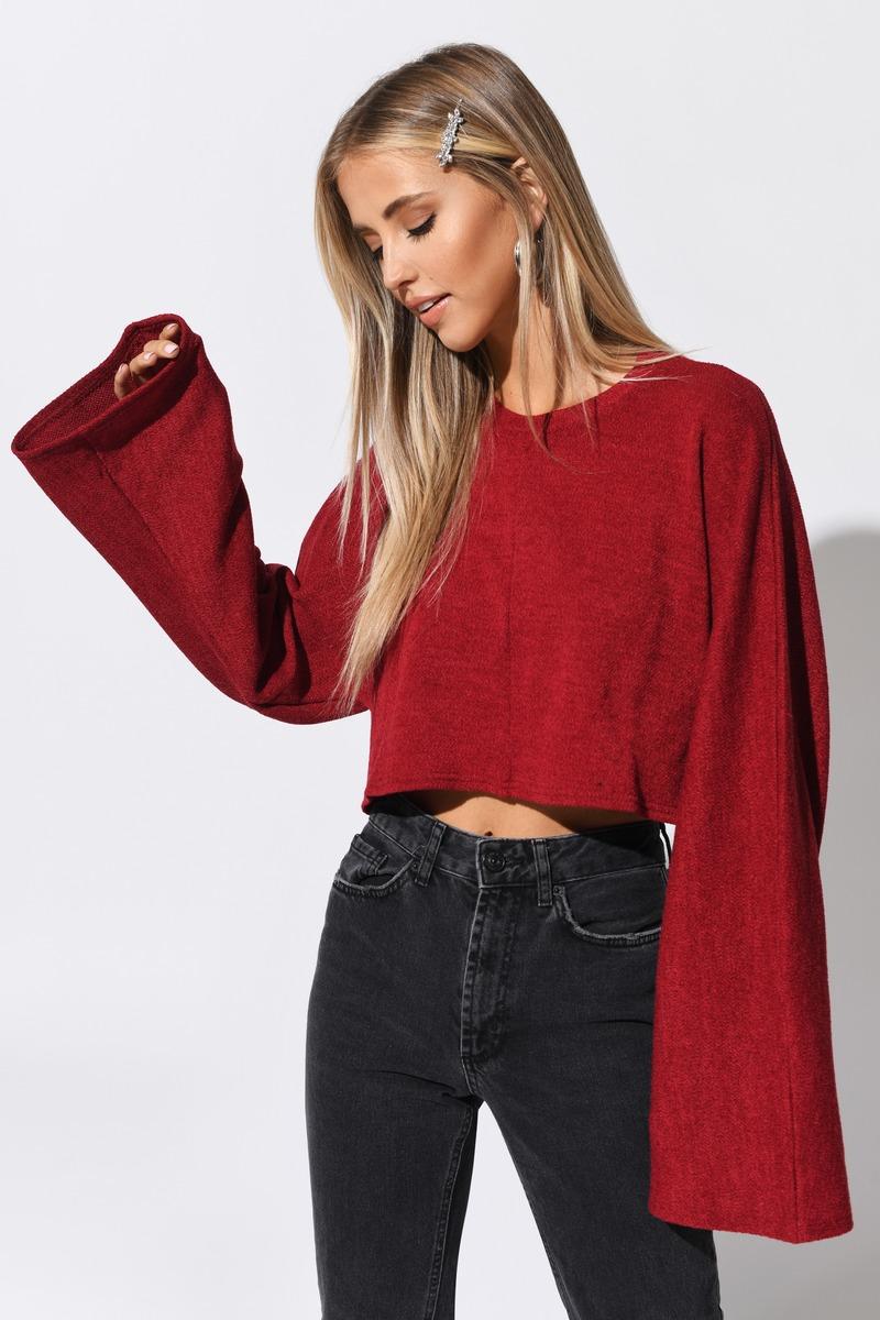 d3efc36d126 Red Crop Top - Basic Long Sleeve Tee - Red Bell Sleeve Top - $13 ...