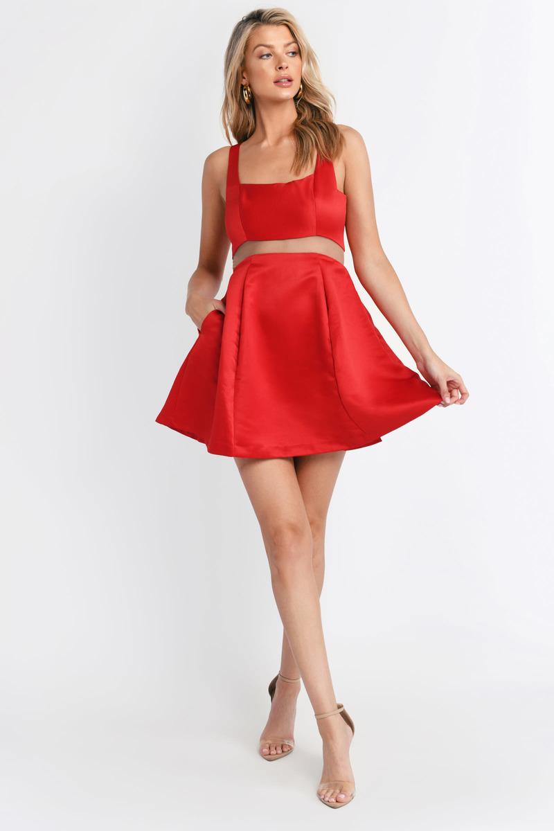 be278ae976 Red Dress - Square Neck Dress - Red Flare Dress - Skater Dress -  18 ...