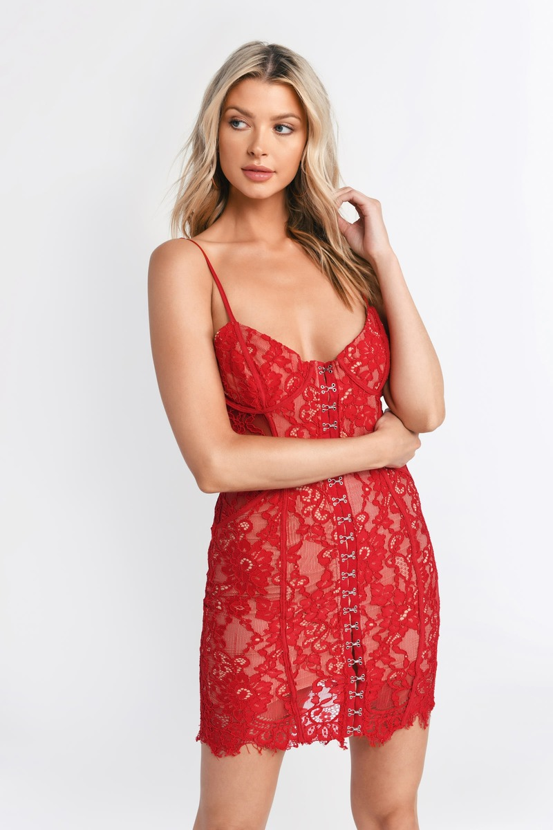 9cfd6d566d21 Honeymoon Red Lace Bodycon Dress -  39