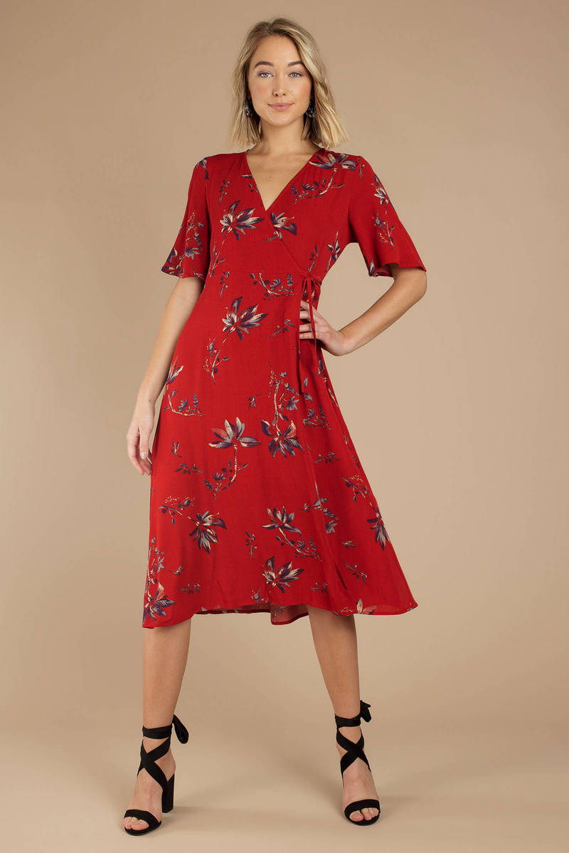 76e13c277e09 Red Midi Dress - Long Flowy Dress - Red Floral Midi Dress - Summer ...
