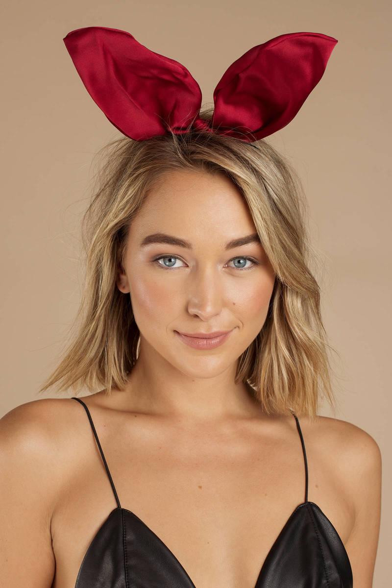 Red Bunny Ears - Satin Bunny Ears - Red Bunny Ear Headband -  8 ... 915e4278dd9