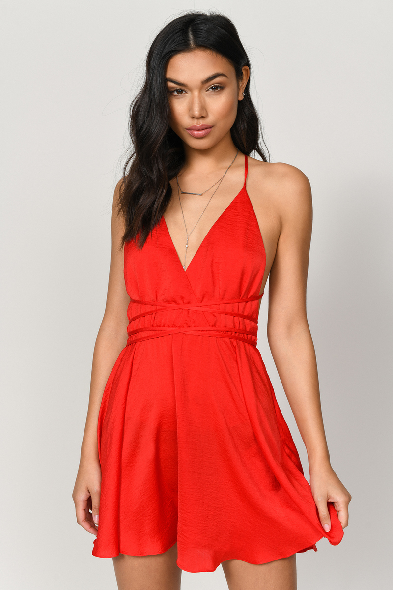 0be424c39df Red Skater Dress - Crisscross Back Dress - Classic Red Dress -  35 ...