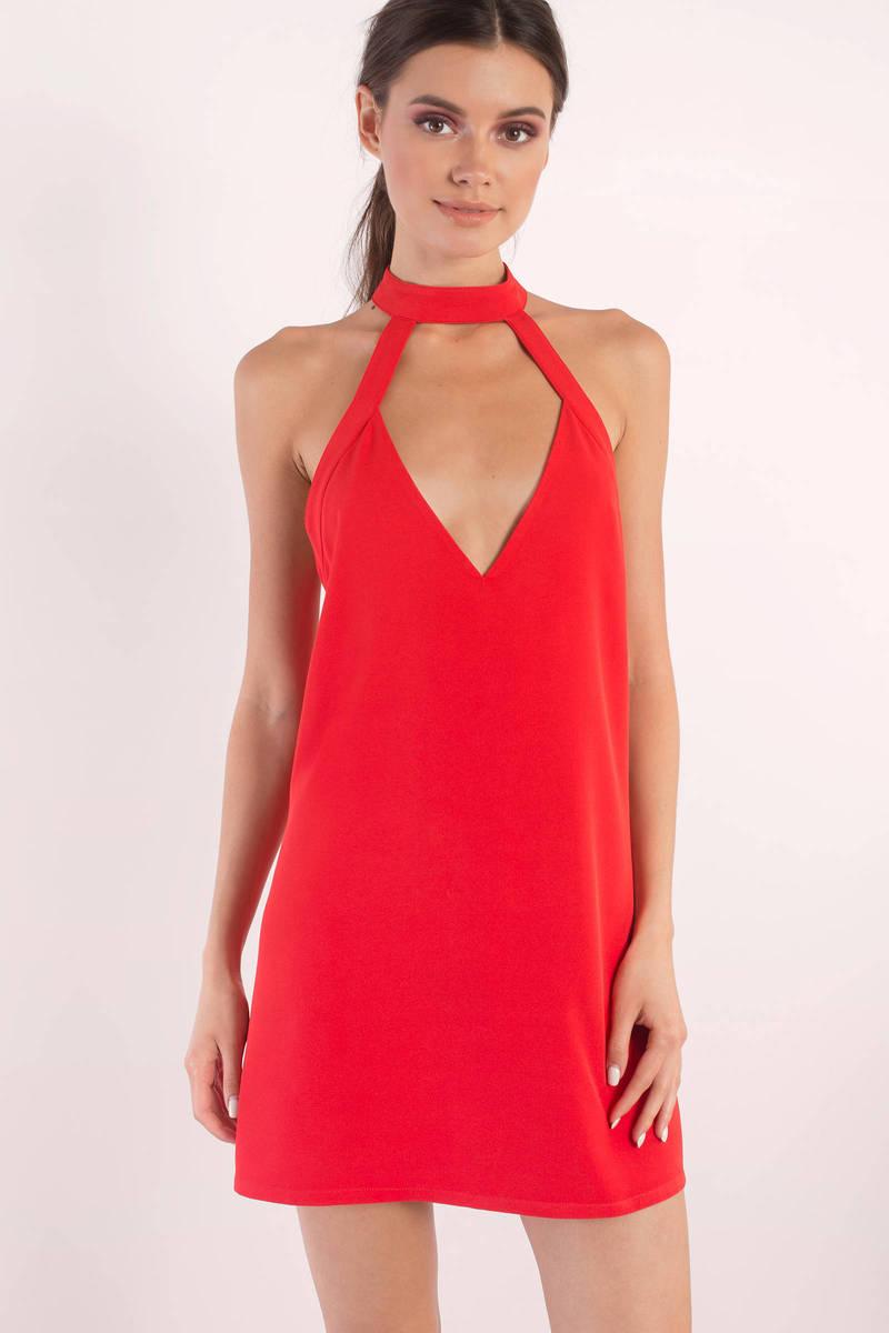 76167154b2 Cute Red Dress - Cut Out Dress - Pretty Red Dress - Shift Dress ...
