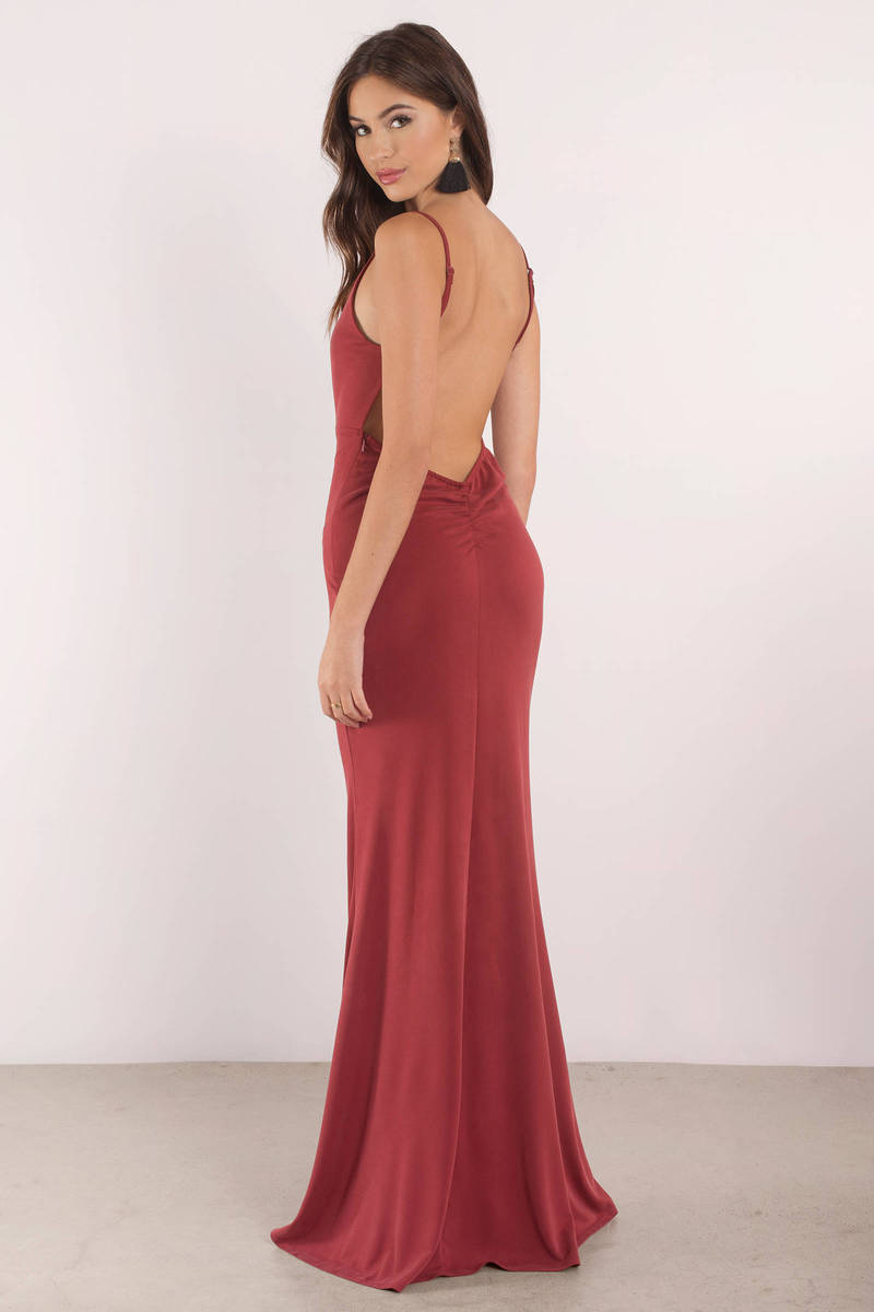 bf321092a9 Sexy Red Dress - Open Back Dress - Plunging Neckline -  29