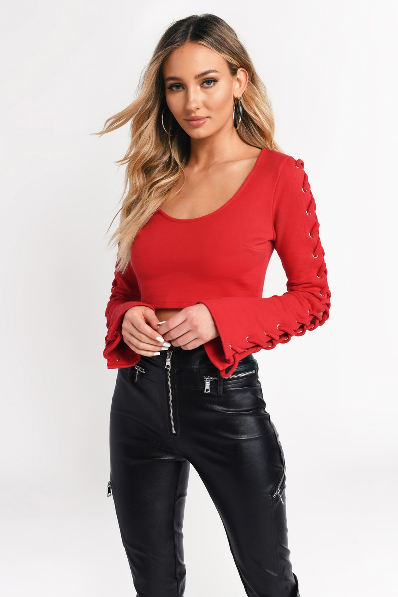 ab4a2c4e162 Red Crop Top - Lace Up Crop Top - Red Scoop Neck Top - $20 | Tobi US