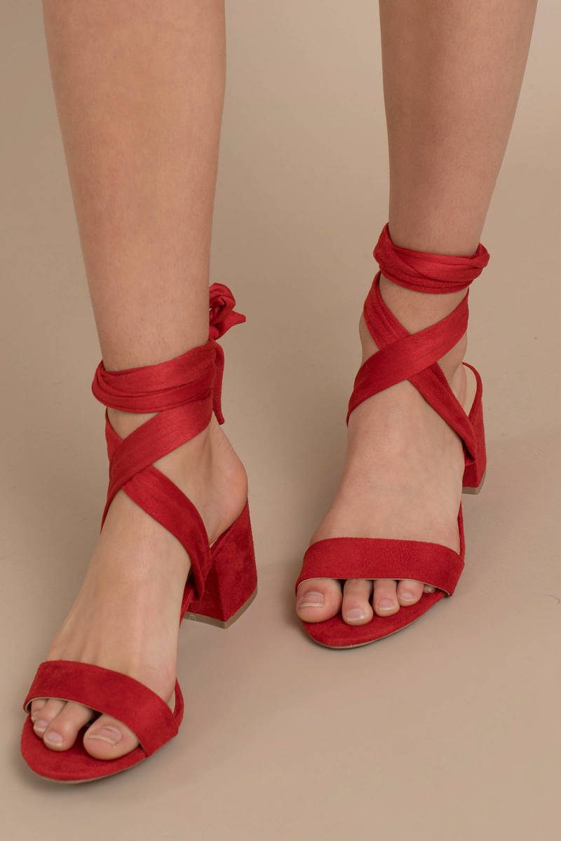 Larina Red Faux Suede Ankle Wrap Heels