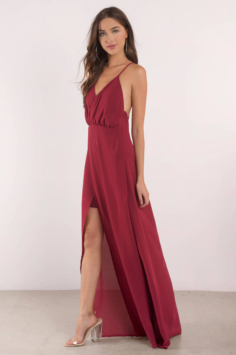 Sexy Red Dress - Strappy Dress - Forest Red Maxi Dress - Maxi ...