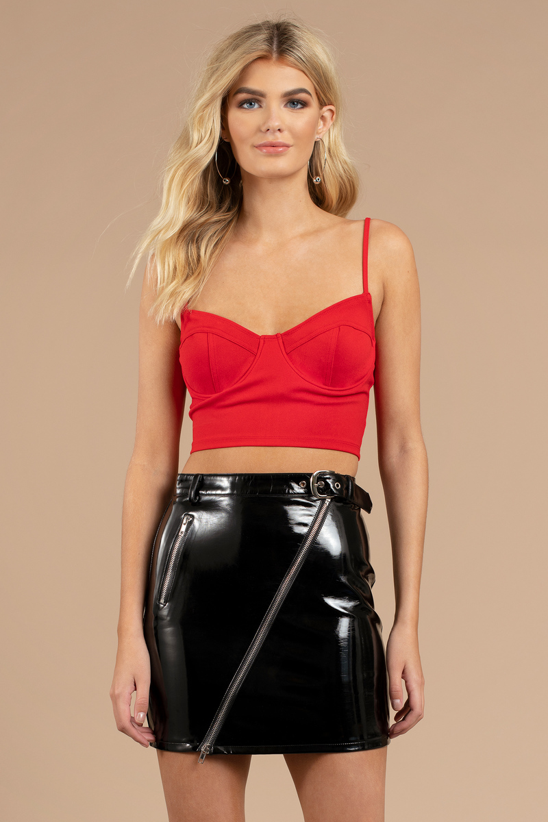 cb81c31957 Red Crop Top - Going Out Crop Top - Red Bustier Top - Concert Top ...