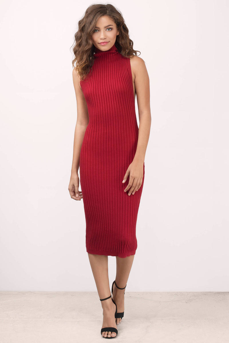 Rehab Clothing Rehab Clothing Messa Red Ribbed Midi Dress
