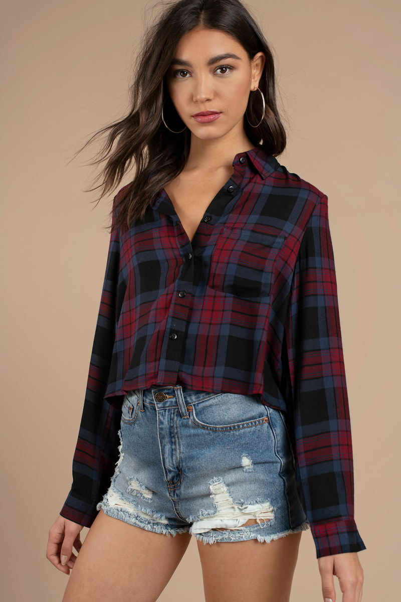red shirt cropped plaid shirt button up tunic red