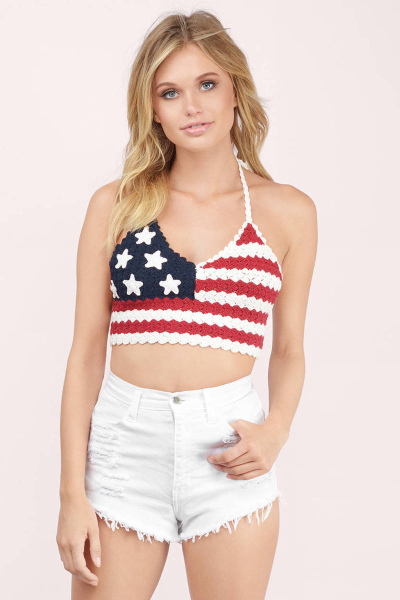 5b4e9496873ee Red Crop Top - Usa Flag Top - Red Knit Top - 4th Of July Top -  56 ...