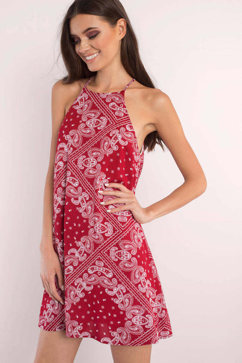 Bandit Red Multi Bandana Print Shift Dress