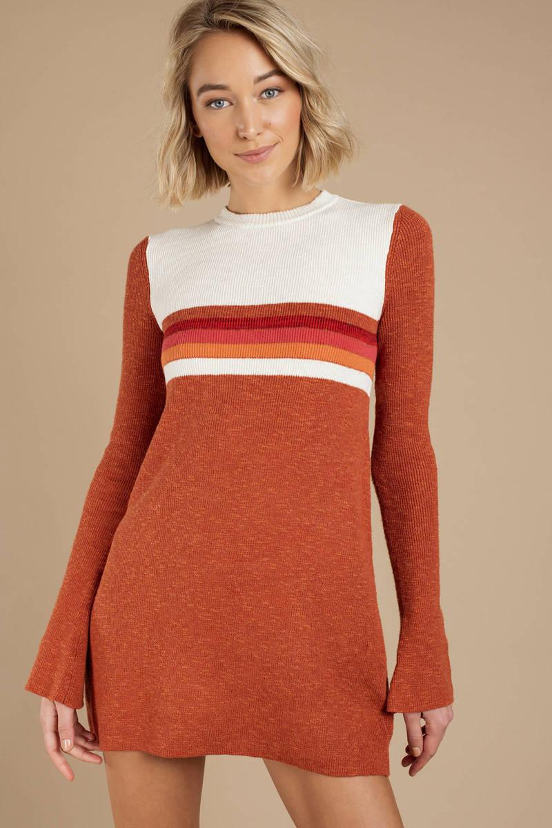 371686f4eeb7e Red Free People Mini Dress - Colorblock Dress - Red Striped Retro ...