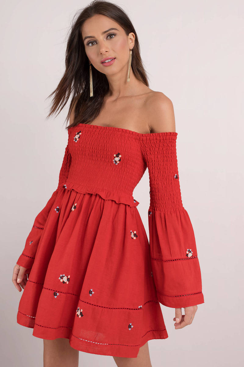 6874466f9a79 Red Skater Dress - Red Bell Sleeve Dress - Bardot Skater Dress -  88 ...