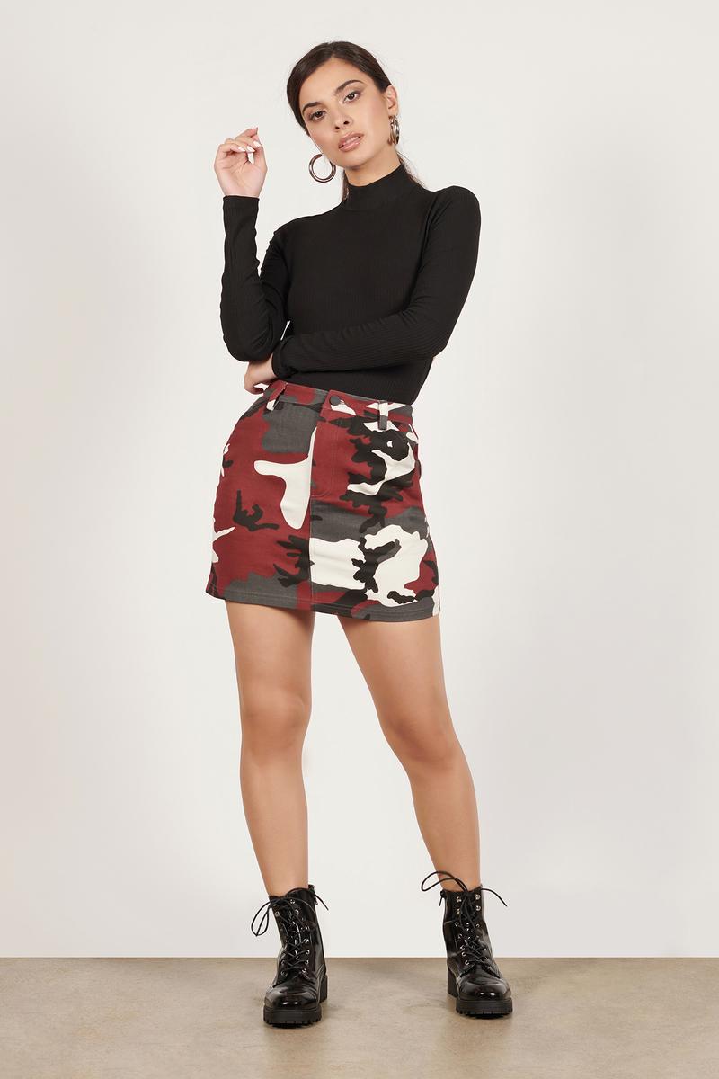 bfbacafa415 Red Printed Skirt - Camo Denim Skirt - Red A-Line Skirt - AU  56 ...