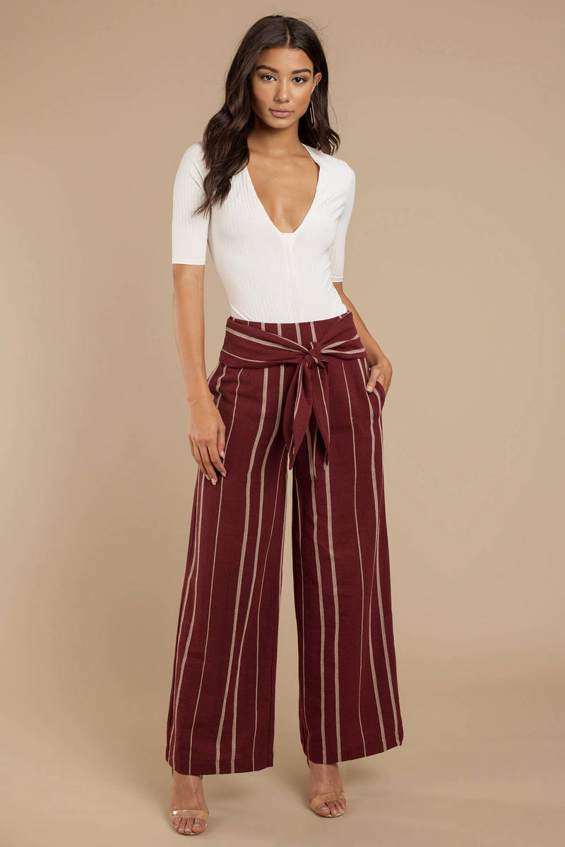 dad567c1f261 Maroon Moon River Pants - Wide Leg Pants - Maroon High Waisted Pants ...