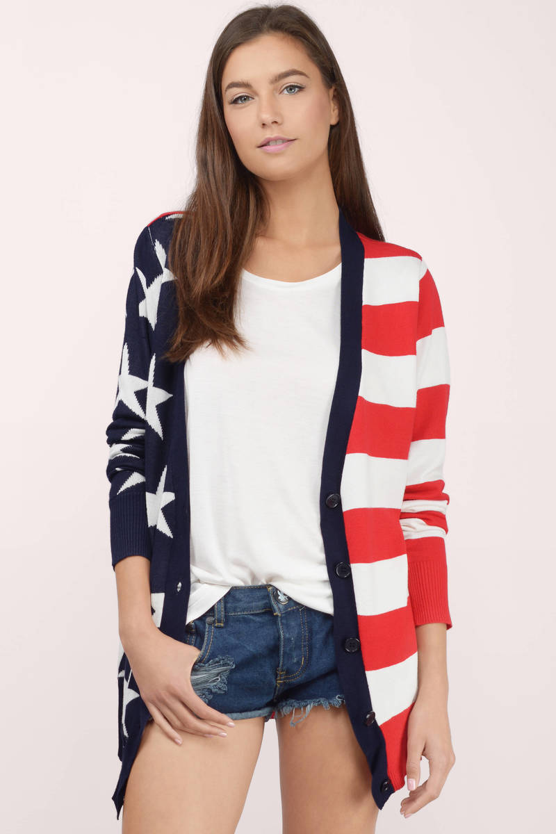 Lady Liberty Red Multi Cardigan
