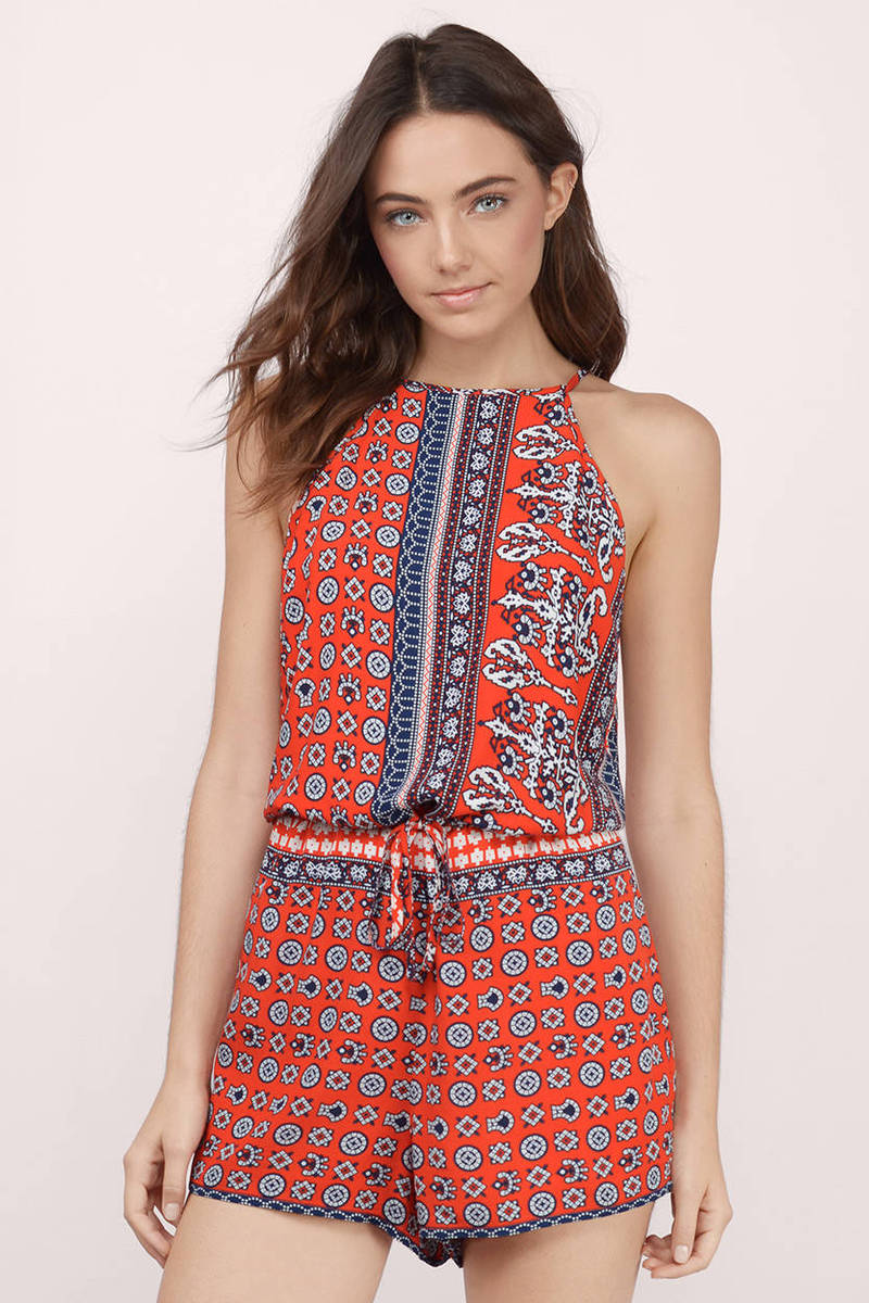 On The Rise Red Multi Printed Romper