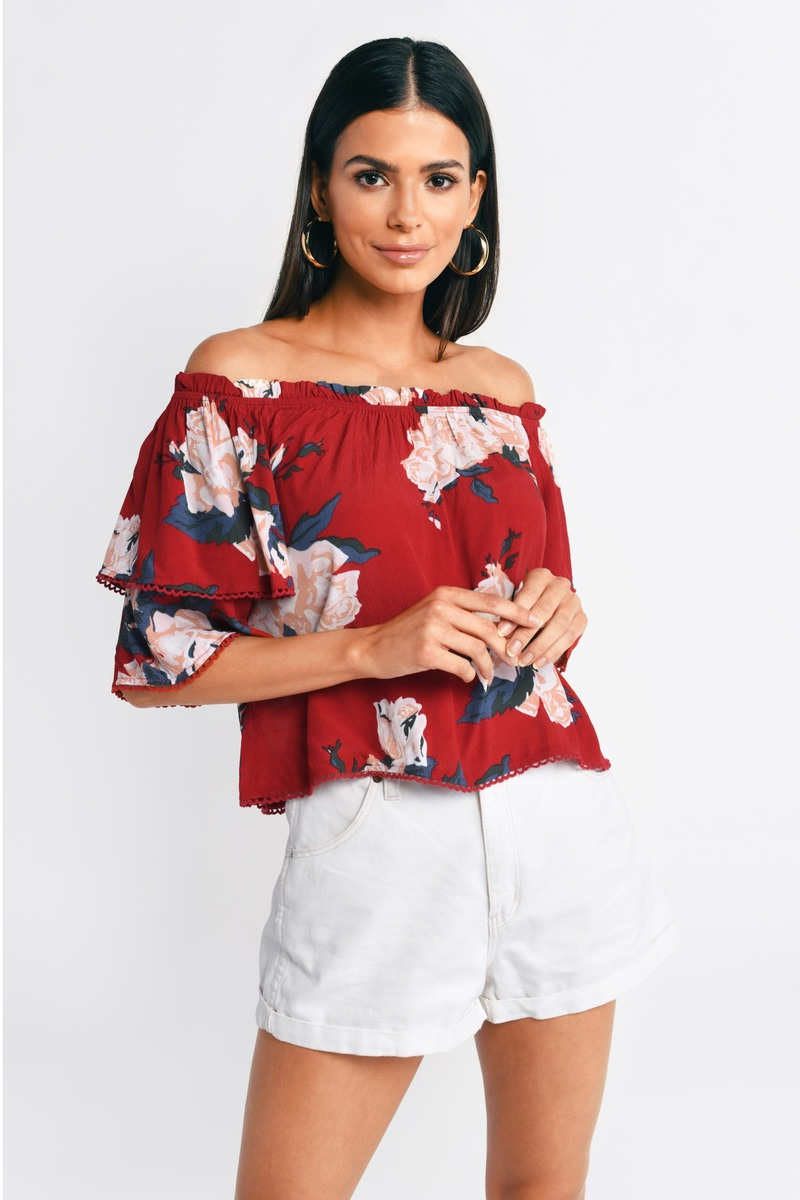 6ebd46b767fd62 Red Blouse - Off Shoulder Blouse - Red Ruffle Blouse - Floral Print ...