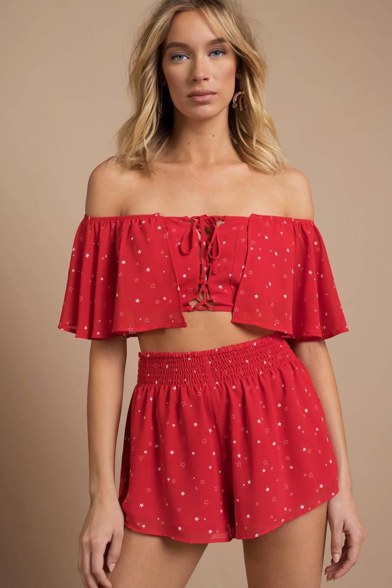 3a5f8f5d45459 Red Crop Top - Off Shoulder Crop Top - Red Star Print Crop Top -  14 ...
