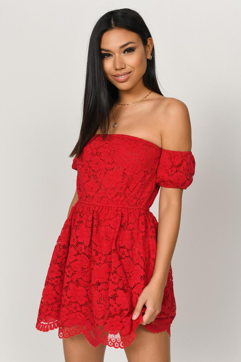 127c9c3c08 Red Skater Dress - Off Shoulder Lace Dress - Red Holiday Dress - $29 ...