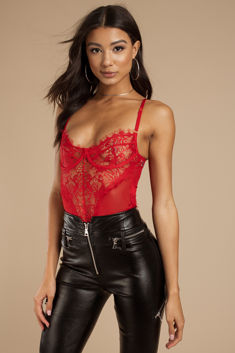 0e563a4e56 Night After Night Red Lace Bodysuit -  68