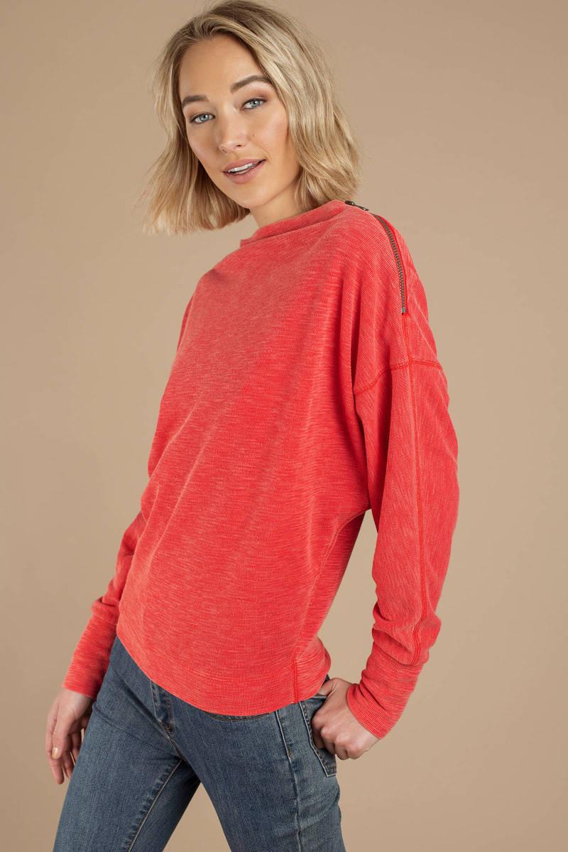 602e6c0ea9c0c Red Free People Top - Long Sleeve Zip Top - Red Sweatshirt -  46 ...
