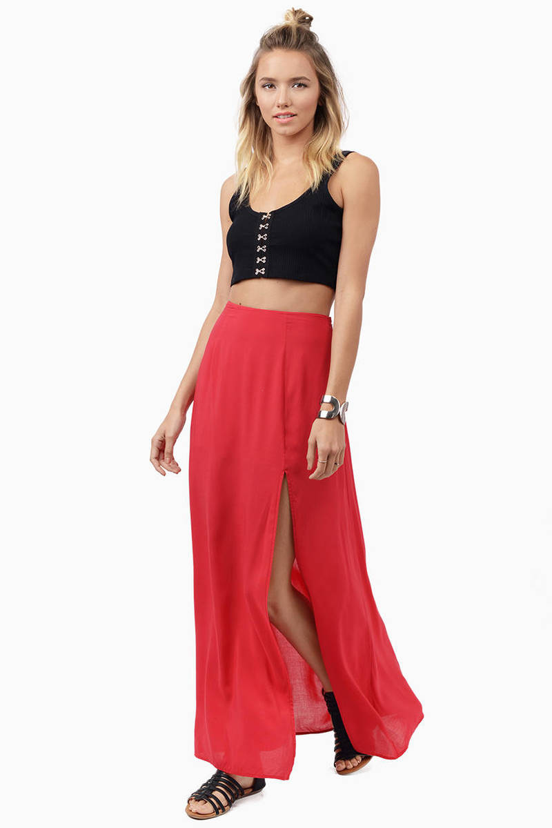 Oh Slit Red Maxi Skirt