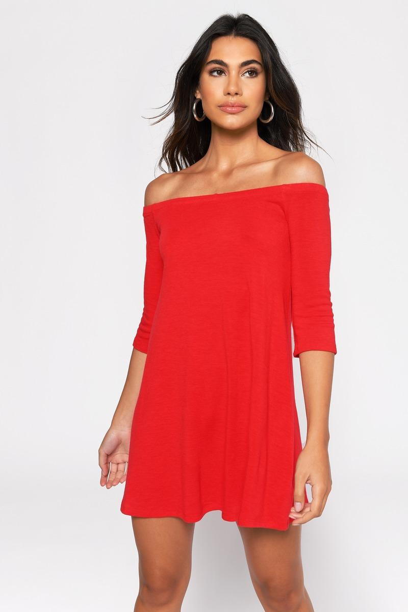 a074b828b90 Red Dress - Half Sleeve Dress - Red Knit Dresses - Shift Dress -  27 ...