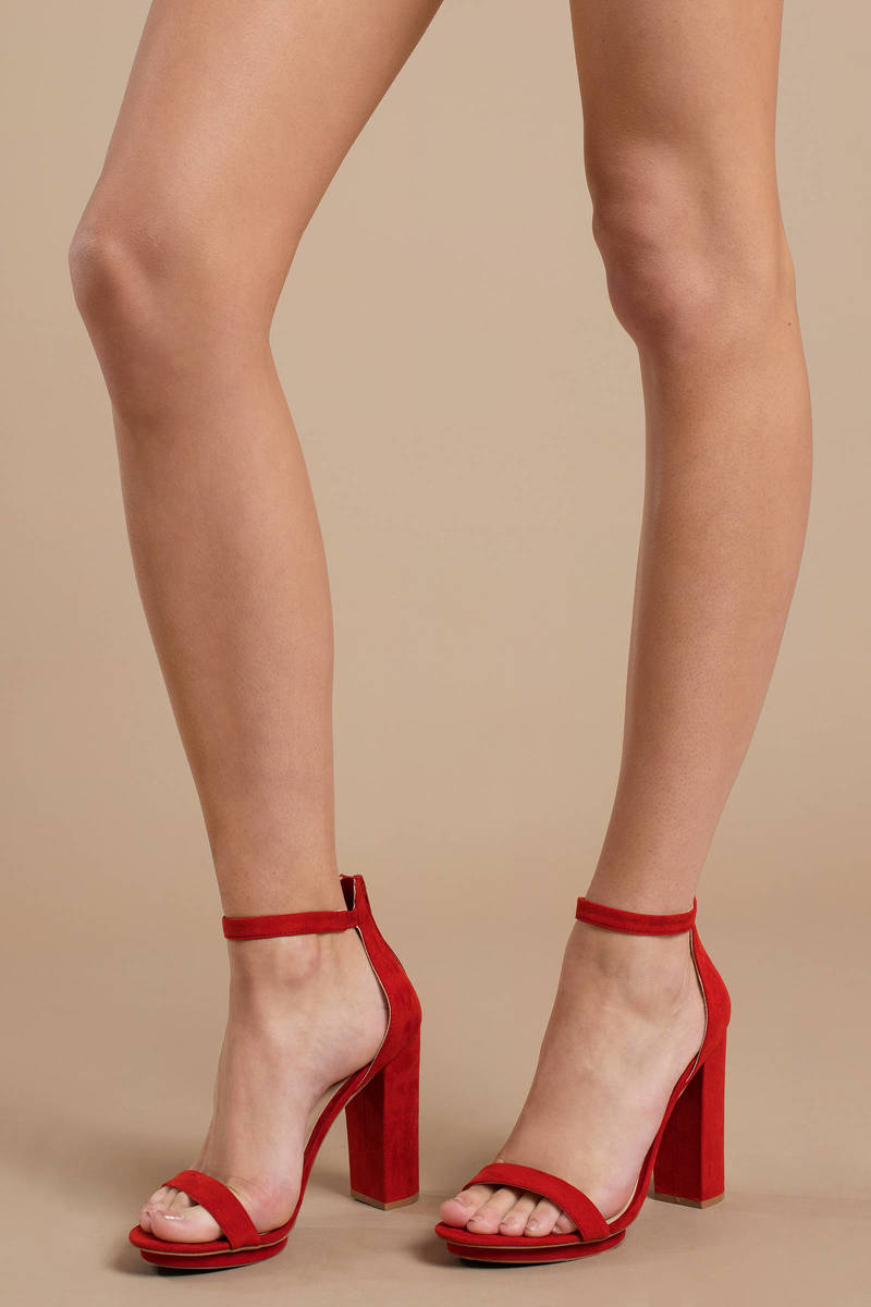 d318bb5ede Red Heels - Holiday Block Heels - Comfortable Red Heels - $68 | Tobi US