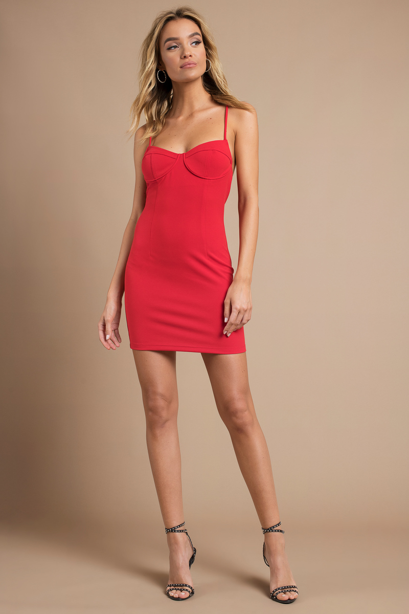 64693af424 Sexy Red Bodycon Dress - Underwire Dress - Red Bustier Dress -  23 ...