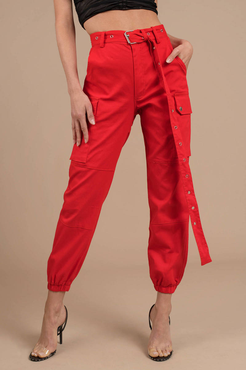 0e81556c0c92d9 Red Pants - High Waisted Joggers - Red Cargo Pants - Belted Pants ...