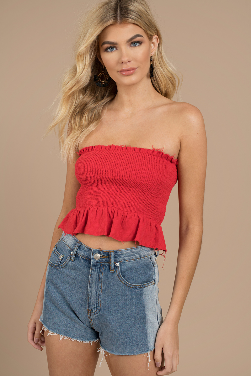 Reyna Red Strapless Smocked Top 50 Tobi Us