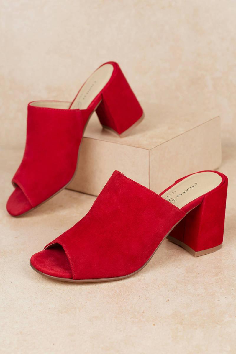 shop best sellers 100% genuine buy sale Red Chinese Laundry Heels - Heeled Mules - Red Block Heel Shoes ...