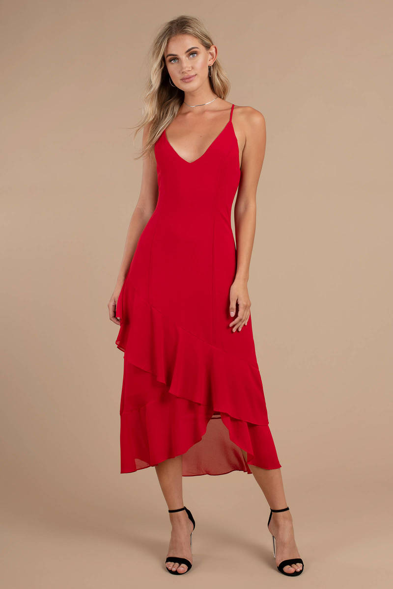 977b131ab20 Selena Red Ruffle Midi Dress -  33