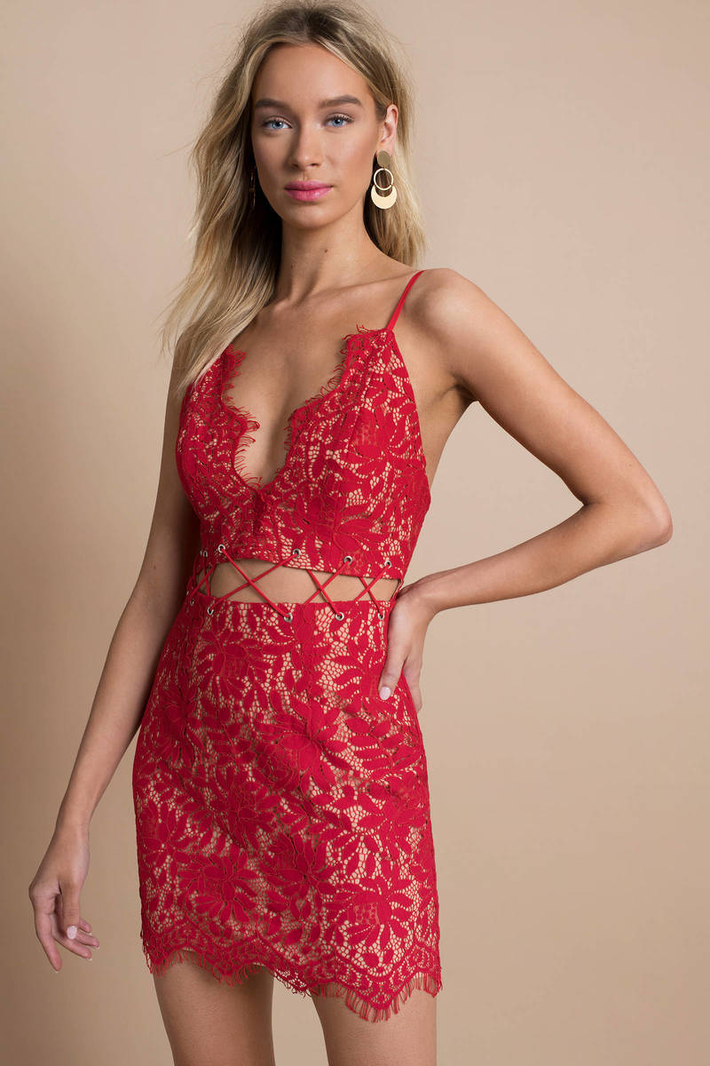 e0ca92a66c40 Red Bodycon Dress - Floral Lace Bodycon Dress - Red Evening Dress ...