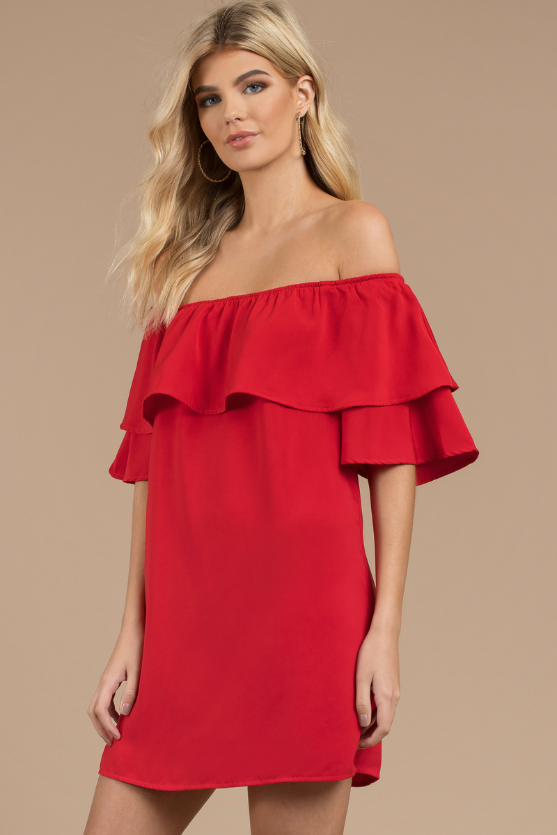 d5184504162d Trendy Red Shift Dress - Off Shoulder Dress - Red Fold Over Dress ...