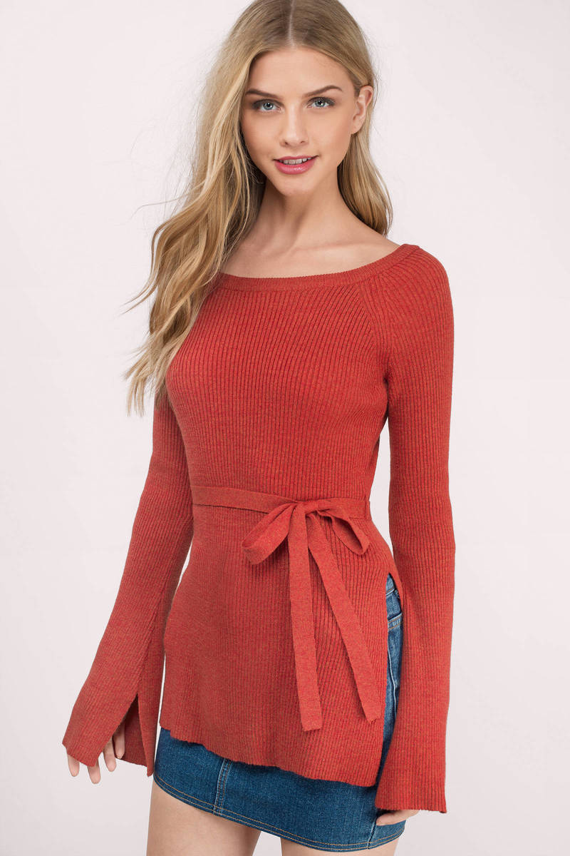 Cute Red Sweater - Off The Shoulder Sweater - Red Sweater ...