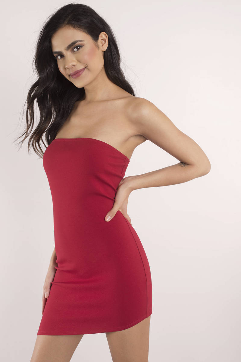 d67b4e27849a Cute Red Dress - Strapless Dress - Cherry Red Dress - Bodycon Dress ...